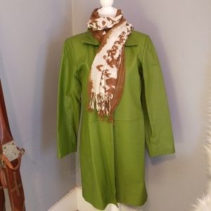 Vintage Mod 60s Style Green Leather Trench Coat